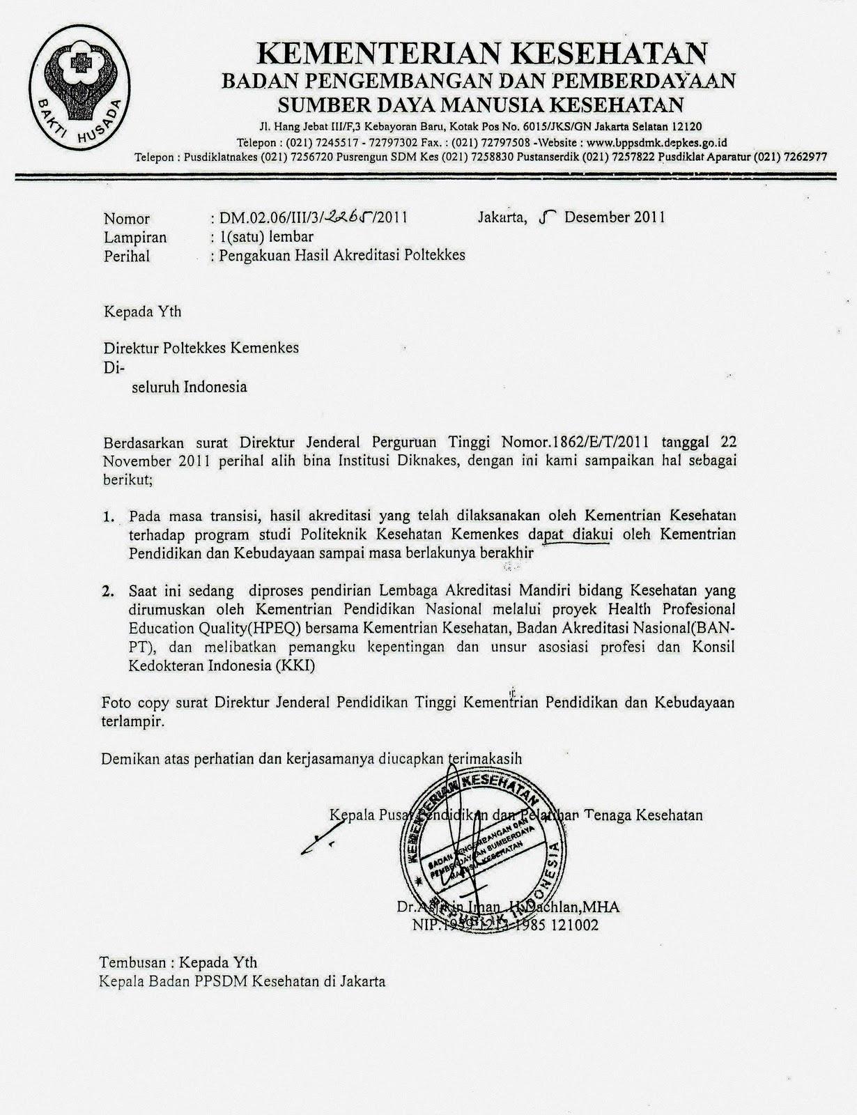 Surat Hasil Akreditasi Poltekkes Dari Kemenkes Contoh Surat